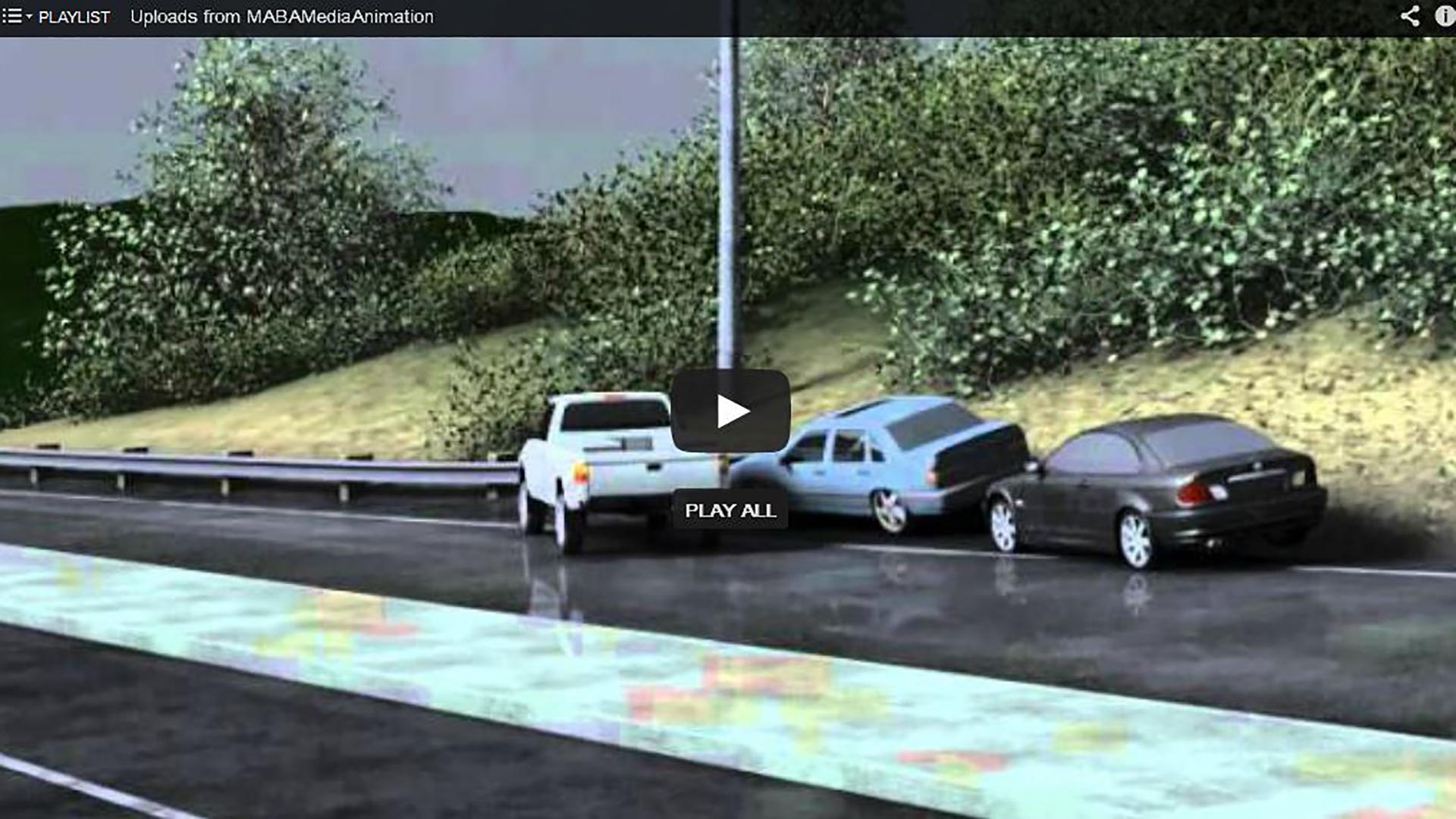 Multi Car Crash In Rain - Collision Animation - Ripple Creative Group
